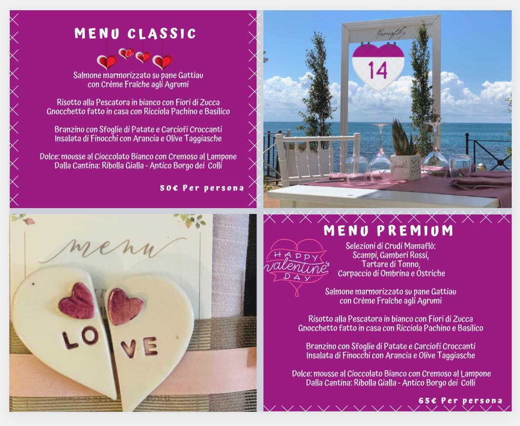 San Valentino 2021 menù ristorante Mamaflò