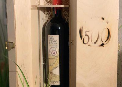 Olio extravergine di oliva bottiglia 1,5 litri in cassetta di legno